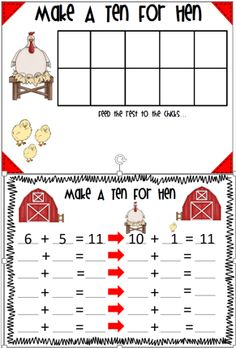 In Make A Ten For Hen students practice the make a ten strategy using a ten frame.  Students draw two cards numbers 2-12.  Students then combine the cards making a ten first. $