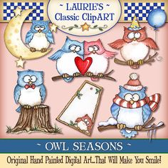 Owl Seasons Digital Art Collection by lauriefurnelldesigns on Etsy, $4.95  OWL bet you haven't seen anything this cute in awhile!