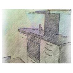 A photo with drawing effect on it of a small kitchen, here you can see an oven, microwave, drawers and cabinets. Nice Kitchen, Kitchen Small, Kitchen Drawing, Drawing Drawing, Microwave, Jigsaw Puzzles, Cabinets, Drawers, Oven