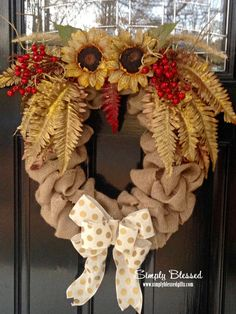 Winter Snow Owl Burlap Wreath with gold wings, glitter, berries and polka dots - Christmas, Holiday - Door or accent