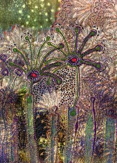 Fabric Art with Velvet - Angie Hughes Thread Painting, Fabric Painting, Fabric Art, Textile Fiber Art, Textile Artists, Creative Textiles, Creative Art, Quilt Modernen, Textiles Techniques