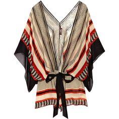 Nairobi printed silk top ($170) ❤ liked on Polyvore featuring tops, blouses, shirts, blusas, beachwear, elbow sleeve shirt, silk top, pattern shirt, draped blouse and brown shirt