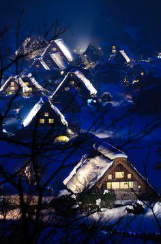 Blue Winter|Shirakawa-go, World Heritage ,Japan Traditional Folk Houses #Gifu #Japan