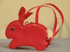 Vintage 1970's Vinyl Red Rabbit Kids Purse Plastic Moving eyes