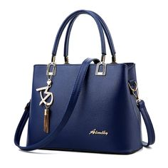 "Navy Women Flonsh Embossed Soft PU Leather Tote Bags,Ornaments with Metal ""M"" and Tassel, Size: 29cm*13cm*21cm, Handle:14cm, ONLY 45USD Free Shipping! Paypal Payment, Fast Delivery! Contact NOW!"