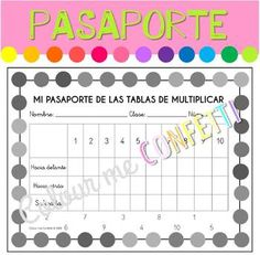 Hello In Spanish, Times Tables, Multiplication, Confetti, Colours, Black And White, Model, Multiplication Tables, Passport