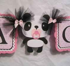 Panda baby shower banner its a girl banner by NancysBannerBoutique,