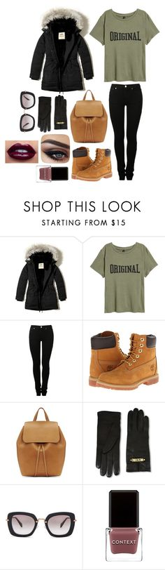 """""""Sin título #422"""" by burusa2 ❤ liked on Polyvore featuring Hollister Co., MM6 Maison Margiela, Timberland, Mansur Gavriel, Moschino, Miu Miu and Context"""