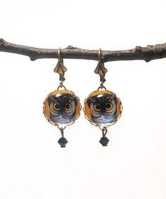 Orange & Black Swarovski Crystal Spooky Owl Drop Earrings by Schmutzerland #zulily #zulilyfinds