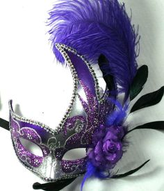FEATHER MASQUERADE BALL PARTY Mardi Gras MASK PURPLE/SILVER in Clothing, Shoes & Accessories, Costumes, Reenactment, Theater, Accessories   eBay