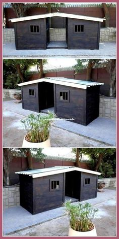 Cheap Dog Houses, Cool Dog Houses, Cheap Dog Kennels, Wooden Dog Kennels, Canis, Building A Dog Kennel, Grande Niche, Pallet Dog House, Wooden Dog House