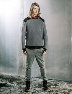 After The Dark - Knit Paneling Leather Look Details Grey Track Pants Boots Look Book Wither Style