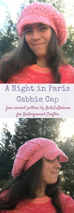 Free #crochet pattern: A Night in Paris Cabbie Cap by BellaTuBoheme in Knit Picks Brava Sport for Underground Crafter | This newsboy hat updates classic looks from the Paris and New York streets of yesteryear for today.