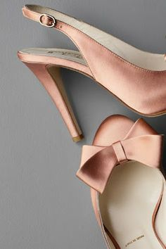 blush pink satin sling back heels with bow