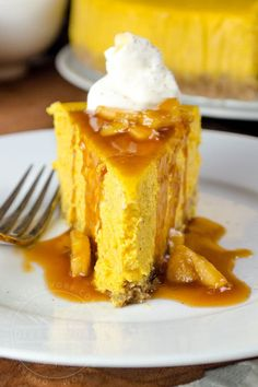 Pumpkin apple cheesecake with apple caramel sauce, whipped cream, and a gluten-free oat crust
