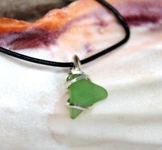 Seaglass Jewelry from Hawaii Hawaiian Jewelry Leather Bohemian Necklace Sea Glass Jewelry made in Hawai Seaglass Wire Wrap Pendant Boho
