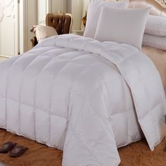 Royal Hotel California King Size Solid White goose Down-Comforter 100 % Cotton Shell -Luxury Duvet Insert 40 oz. fill by Wholesalebeddings King Size Comforter Sets, King Size Comforters, Pottery Barn, Extra Long, Ikea, Shabby, Ralph Lauren, Hotel California, Bedding Sets Online
