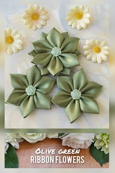 This is a listing for a beautiful set of 3 olive green ribbon flowers made of: 2 simple flowers and 1 double layered flower. The flower appliques, made from high quality satin ribbon and decorated with green flower appliques in the center are perfect for any DIY project! Ribbon Flowers, Handmade Crafts, Decorative Flowers, Wedding Supplies, Baby Shower Crafts, Hair Flowers, Scrapbooking, Etsy Flowers #flowers #ribbonflowers #diycrafts #etsycrafts #weddingsupplies Simple Flowers, Green Flowers, Etsy Crafts, Handmade Crafts, Baby Shower Crafts, Hair Flowers, Green Ribbon, Flower Applique, Romantic Gifts