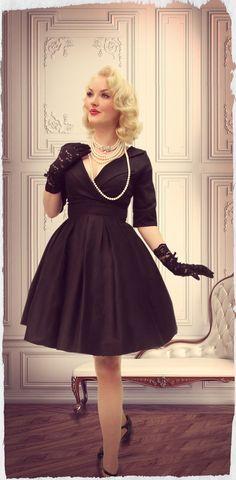 Petite Petale Collar Dress (Black)