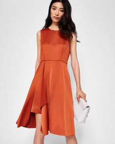 Front fold pleated dress - Brick Red | Dresses | Ted Baker SEU