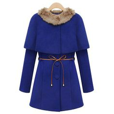Ladylike Solid Color Single-Breasted Long Sleeves Overcoat And Faux Fur Collar Cloak Women's Twinset Tweed Coat, Wool Coat, Faux Fur Collar, Fur Collars, Cheap Coats, Blue Coats, Cape Coat, Mantel, Coats For Women