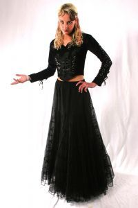 Gothic Velvet Lace-up Top~Gothic Long Sleeved Velvet Lace-up& Buckled Top~By Bares/Fashion X~89-1769