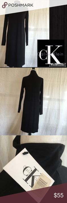 Calvin Klein Soft Knit Black Dress. Size Lg NWT Super chic and simple mock turtleneck soft knit black dress. Drop shoulders. Thick soft knit. 92% rayon 8% spandex. A very comfortable dress to wear at any time. A must have staple to a wardrobe!! Calvin Klein Dresses Long Sleeve