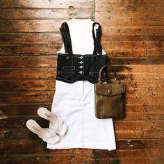 Found at Common Sort - sleeveless turtleneck, white skirt, denim waist belt, leather handbag and Charles David sandals