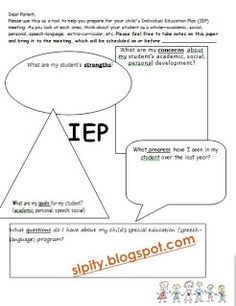 Pre-IEP form for parents and during-IEP form for keeping your notes organized. LOVE THIS!! Repinned by SOS Inc. Resources pinterest.com/sostherapy/.