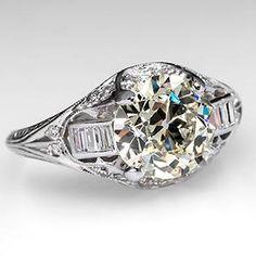 1930's Antique Engagement Ring w/ 2.5 Carat Old Euro Diamond in Platinum