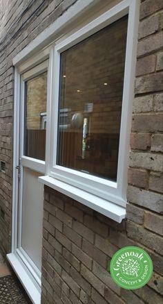 White Liniar panel door and side window. Eastwood Essex Side Window, Folding Doors, Panel Doors, Stables, Windows, Accordion Doors, Horse Stables, Pocket Doors, Run In Shed