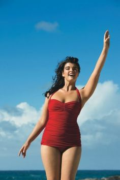 Crystal Renn. Not only do I love this bathing suit. (where are all the bright plus sized bathing suits!?) But I love Crystal Renn.