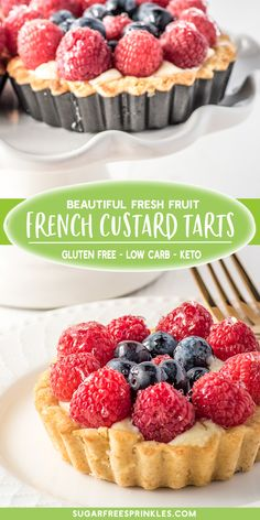 Check out our low carb version of a fresh fruit custard tart. This keto friendly custard tart pops with freshness! Fresh summer fruits atop a creamy vanilla custard and a perfect sweet buttery crust. A great little gluten-free dessert or low carb treat. Sugar Free Fruits, Sugar Free Desserts, Low Carb Desserts, Gluten Free Desserts, Fruit Custard Tart, Vanilla Custard, Fruit Tarts, Baking Recipes, Dessert Recipes