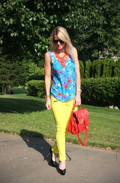bright yellow pants and floral top