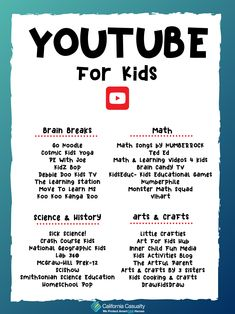 We've compiled a Youtube Channel Guide for Kids, to help take the burden off of parents struggling to find educational videos at home. Each of these channels is designed with kid's learning and entertainment in mind! Check them out 😎  #AtHomeTeachingResources #TogetherWeCAN