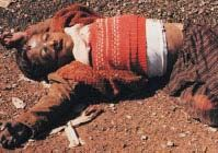 Kurdish victims of mass-murder in Halabjah, where in 1988 Saddam Hussein ordered chemical weapons to be directed against a civilian population. ***___***  http://www-tc.pbs.org/frontlineworld/stories/iraq203/images/03b.jpg