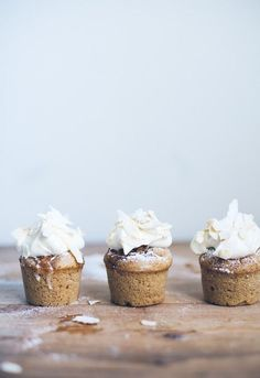 Cupcakes with Whipped Cream and Coconut Slices