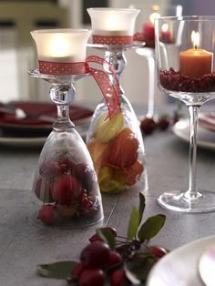 Upside down glass with candle on top. I'd also like to do a version of this for Christmas.