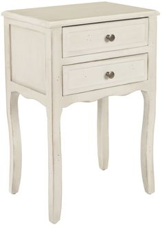 Lori End Table With Storage Drawers White Birch