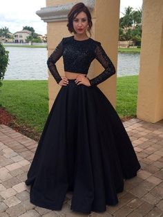 Long Prom Dress, Prom Dress With Long Sleeves, Two Pieces Prom Dress, Vintage Prom Dress, 2017 Prom Dresses, Evening Party Dress, Prom Dresses, Prom Dress Ball Gown. PD01210525