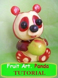 Fruit Carving Arrangements and Food Garnishes: Fruit Art. Apple Panda Tutorial