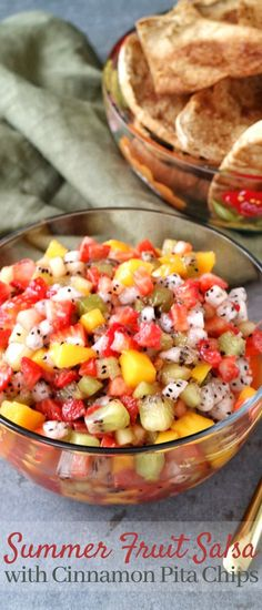 A simple and refreshing Summer Fruit Salsa that pairs perfectly with homemade Cinnamon Pita Chips! Crispy Chips, Fresh Salad Recipes, Whole Wheat Pita, Fruit Salsa, Healthy Summer Recipes, Appetizer Recipes, Appetizers, Seasonal Food