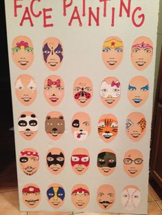 Easy Face Painting Designs for Carnival - fab idea a 'point-to' board :) . . .