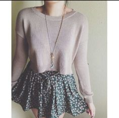 Crop sweater with brandy Melville skirt