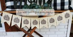 This listing is for a buffalo plaid pumpkin banner made on old vintage book pages. The banner is handmade by printing letters and images onto old book pages  There are 7 pennants total measuring 35x7.5. The banner is strung on jute twine and has 10 inch ties on each end. The banner is approx 55