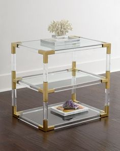 "36180033 28""W x 20""D x 26""T. Jacques+Lucite+&+Brass+Two-Tier+Table+by+Jonathan+Adler+at+Horchow."
