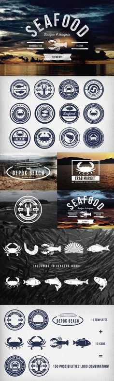 Seafood Badges & Insignia #design Download: https://creativemarket.com/TSVcreative/20107-Seafood-Badges-Insignia?u=ksioks