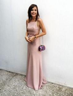 High Fashion Sheath Halter Backless Long Prom Dress