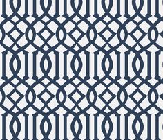 Imperial Trellis-Navy/White Reverse-Large fabric by melberry on Spoonflower - custom fabric