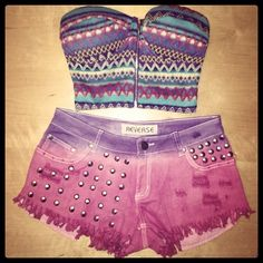 Studded shorts & crop top bralet ♥